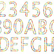 Abc and numbers in upper caps made of candy isolated on white. — Stock Photo #11458731