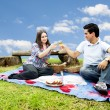 Picnic with young and happy couple in spring — Stock Photo