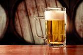 Refreshing beer mug on vintage background — Stock Photo