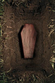 Coffin or tomb at graveyard — Stock Photo
