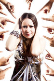 Humiliated woman with hands pointing at her. isolated on white — Stock Photo