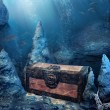 Stock Photo: Closed treasure chest underwater