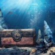 Royalty-Free Stock Photo: Closed treasure chest underwater