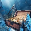 Open treasure chest with bright gold underwater — Stock Photo #11605124