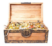 Treasure chest isolated on white — Foto Stock
