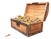 Treasure chest with key isolated on white — Stok fotoğraf