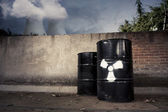 Toxic drum barrel with hazardous content outside nuclear plant — Stock Photo