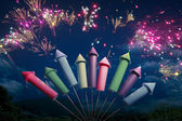 Colorful fireworks setup at night — Stockfoto