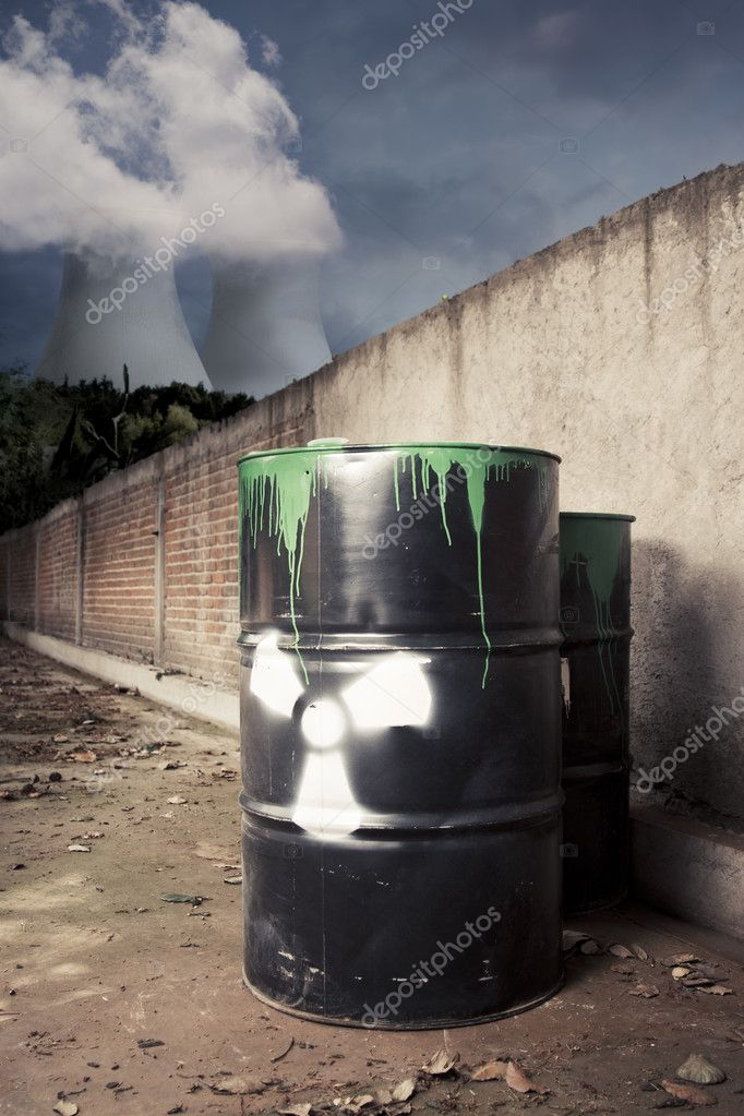 Toxic drum barrel outside nuclear plant — Stock Photo #11605024