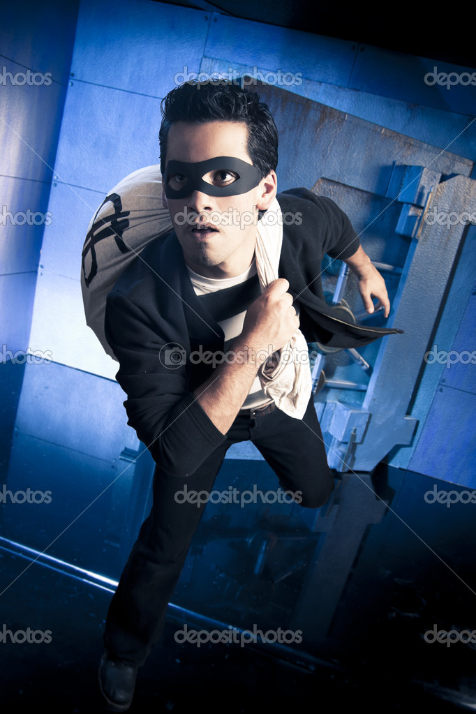 Thief Running Away Thief Running Out of a Bank
