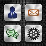 Steel app icons set — Stock Vector