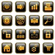 Stock Vector: Web and Internet icons - golden series