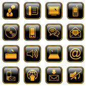 Communication icon set - golden series — Stock Vector