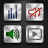 Audio icons set — Vector de stock