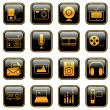 Mass Media icons - golden series — Stock Vector