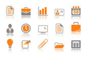 Office and business icons - orange series — Stock Vector