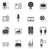 Mass Media icons - white series — Stock Vector