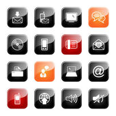 Communication icon set- glossy series — Stock Vector