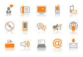 Communication icon set - orange series — Stock Vector