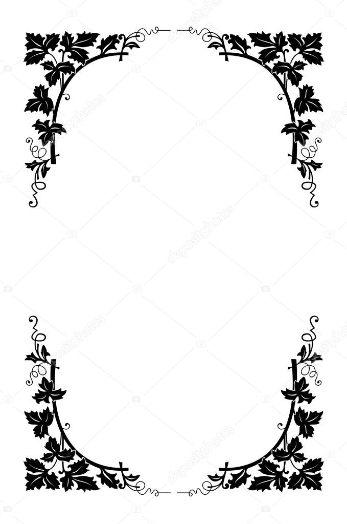 Vector floral border black and white, easy to recolored — Stock Vector #11553410