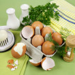 Boiled Eggs With Herbs — Stock Photo