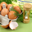 Egg Timer With Eggs — Stock Photo