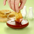 Dipping Hash Browns — Stock Photo