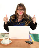 Thumbs Up Businesswoman — Stock Photo