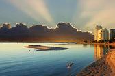 Cloudy Sunrise Over Bay — Stock Photo