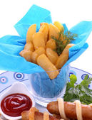 Fries And Sausages — Stock Photo