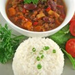 Rice Stack Chili Con Carne — Stock Photo