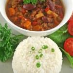 Rice Stack Chili Con Carne — Stock Photo