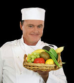 Basket Of Fruit Chef — Stock Photo