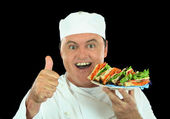 Messy Salad Sandwich Chef — Stock Photo