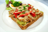 Grilled Open Chicken Sandwich — Stock Photo