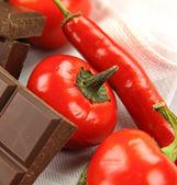 Chillies And Chocolate — Stock Photo