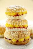 Custard Cake Stack — Stock Photo