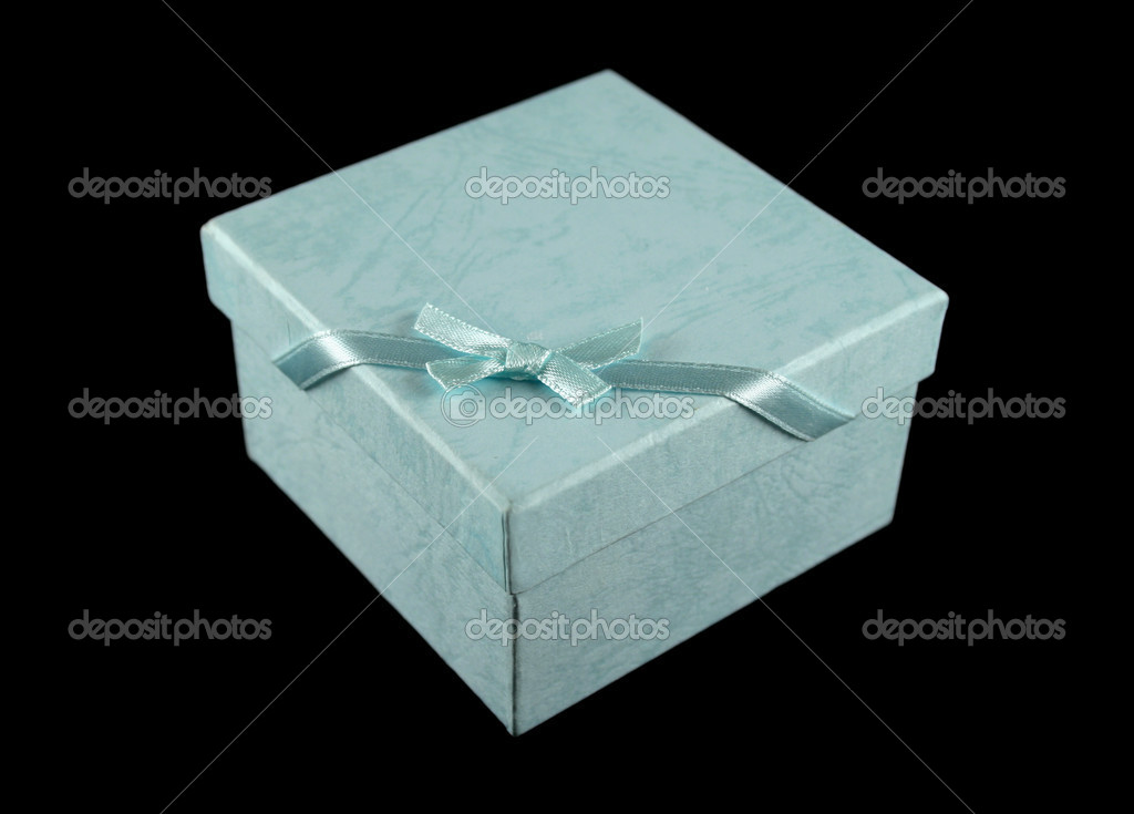 Powder blue gift box with ribbon and bow, — Stock Photo #11569251