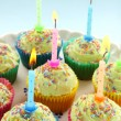 Birthday Candle Cup Cakes - Stock Photo