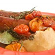 Baked Tomato And Sausages — Stock Photo
