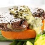 Steak With Peppercorn Sauce — Stock Photo