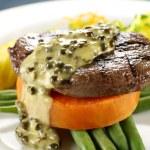 Steak On Sweet Potato — Stock Photo
