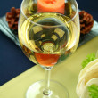 White Wine With Candle — Stock Photo