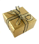 Gold Wrapped Gift — Stock Photo