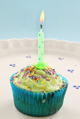 Candle Cup Cake — Stock Photo