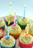 Birthday Candle Cup Cakes — Stock Photo