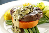Steak On Sweet Potato — Stockfoto