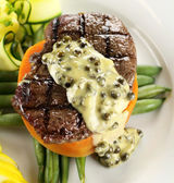 Steak With Peppercorn Sauce — Photo