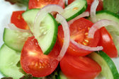 Tomato, Cucumber And Onion — Stock Photo