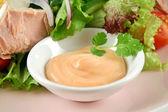 Tuna Salad And Dressing — Stock Photo